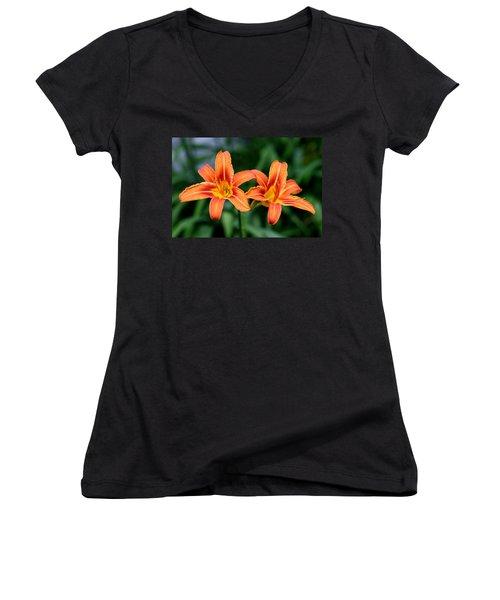 2 Flowers In Side By Side Women's V-Neck T-Shirt (Junior Cut) by Paul SEQUENCE Ferguson             sequence dot net