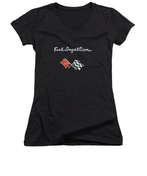 Fuel Injection Women's V-Neck T-Shirt (Junior Cut) by Dennis Hedberg