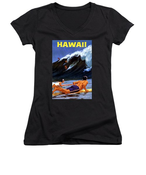 Hawaii Vintage Travel Poster Restored Women's V-Neck (Athletic Fit)