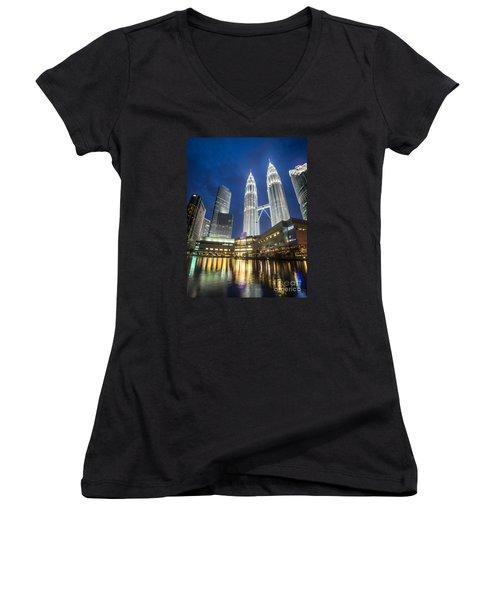 Kuala Lumpur Petronas Towers Women's V-Neck T-Shirt
