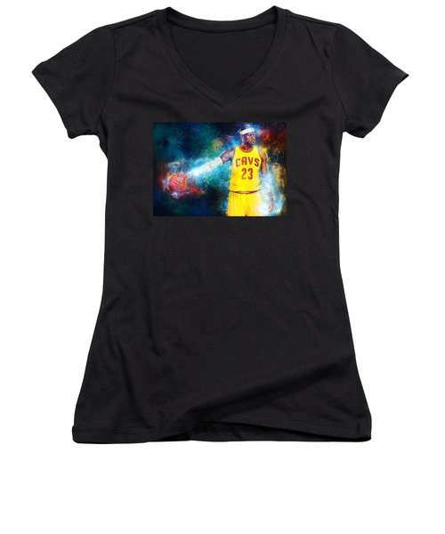 Lebron James Women's V-Neck T-Shirt (Junior Cut) by Taylan Apukovska
