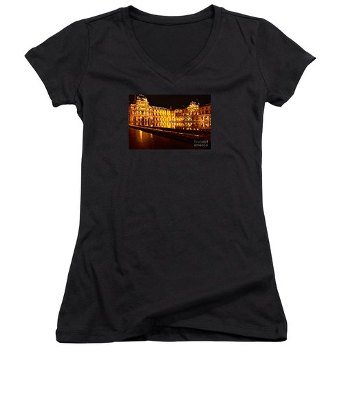 Women's V-Neck T-Shirt (Junior Cut) featuring the photograph Louvre Pyramid by Danica Radman