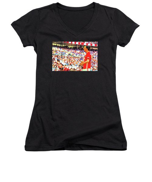 Manchester United's Zlatan Ibrahimovic Celebrates Women's V-Neck T-Shirt (Junior Cut) by Don Kuing
