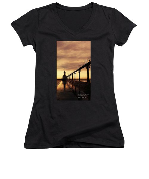 Michigan City Lighthouse Women's V-Neck T-Shirt