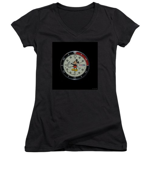 Mickey Mouse Watch Face Women's V-Neck T-Shirt