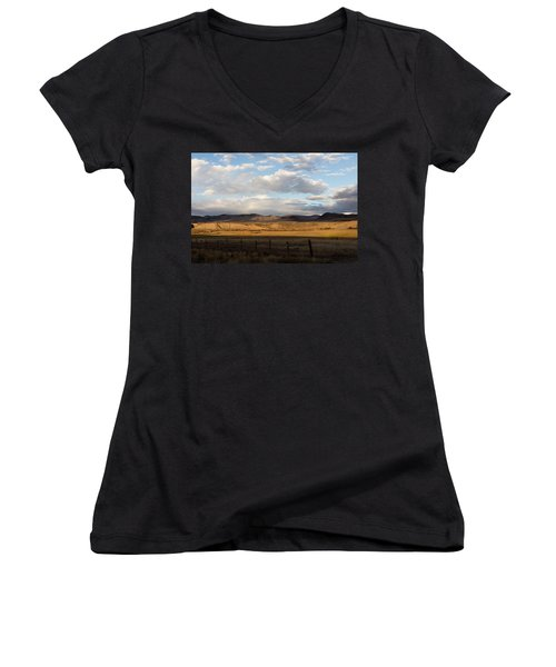 Women's V-Neck T-Shirt (Junior Cut) featuring the photograph Mountain Meadow And Hay Bales In Grand County by Carol M Highsmith