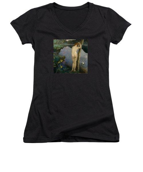 Nocturne Women's V-Neck T-Shirt (Junior Cut) by Eilif Peterssen