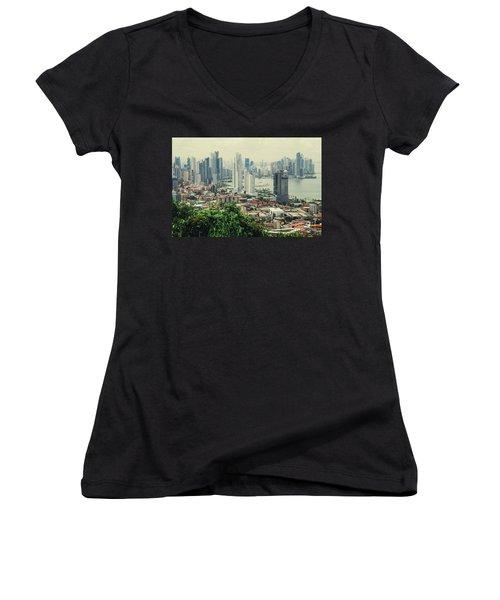 Panama City Women's V-Neck T-Shirt (Junior Cut) by Iris Greenwell