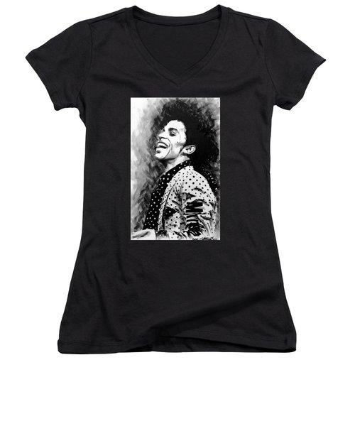 Women's V-Neck T-Shirt (Junior Cut) featuring the painting Prince by Darryl Matthews