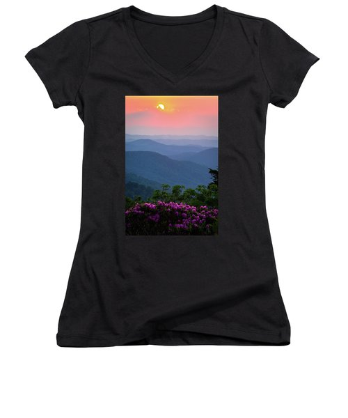 Roan Mountain Sunset Women's V-Neck T-Shirt (Junior Cut) by Serge Skiba