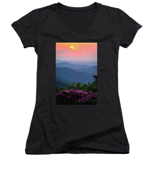 Roan Mountain Sunset Women's V-Neck T-Shirt