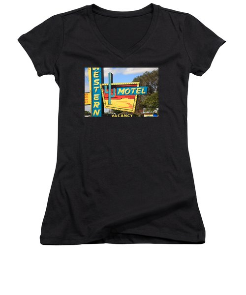 Route 66 - Western Motel Women's V-Neck (Athletic Fit)