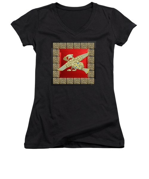 Sacred Celtic Bird On Red And Black Women's V-Neck T-Shirt (Junior Cut)