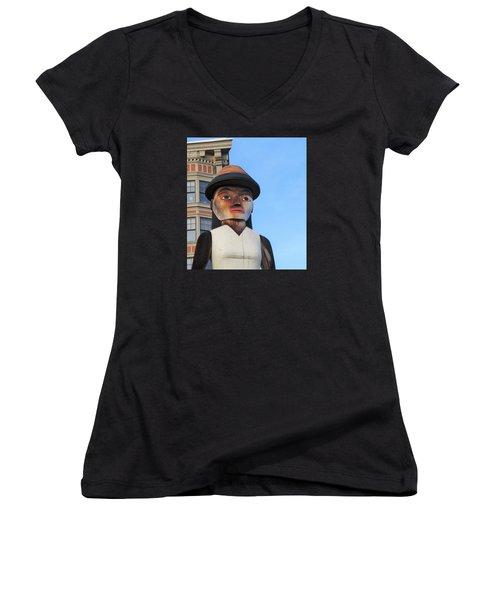 Salish Woman Women's V-Neck T-Shirt (Junior Cut) by Martin Cline