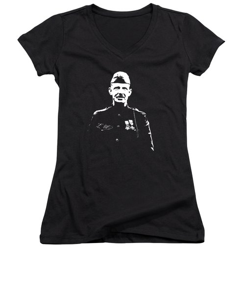 Women's V-Neck T-Shirt (Junior Cut) featuring the mixed media Sergeant Alvin York by War Is Hell Store