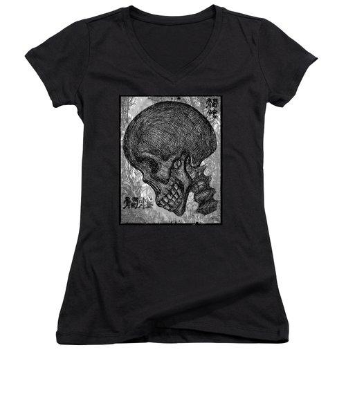 Gothic Skull Women's V-Neck T-Shirt (Junior Cut) by Akiko Okabe