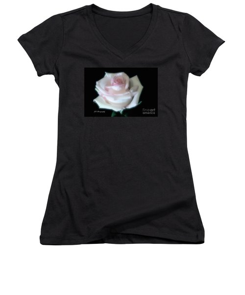 Soft Pink Rose Bud Women's V-Neck T-Shirt (Junior Cut) by Jeannie Rhode