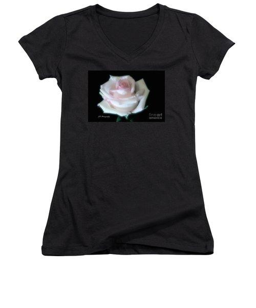 Soft Pink Rose Bud Women's V-Neck T-Shirt