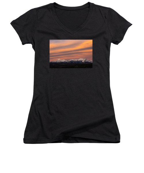 Sunset In Glacier National Park Women's V-Neck