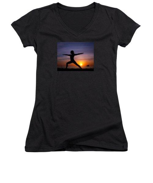 Sunset Yoga Women's V-Neck T-Shirt (Junior Cut) by Scott Meyer