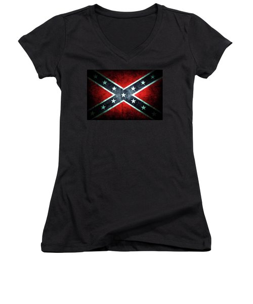 Women's V-Neck T-Shirt (Junior Cut) featuring the photograph Confederate Flag by Les Cunliffe