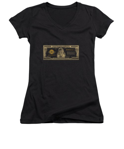 Women's V-Neck T-Shirt (Junior Cut) featuring the digital art U.s. One Hundred Thousand Dollar Bill - 1934 $100000 Usd Treasury Note In Gold On Black  by Serge Averbukh