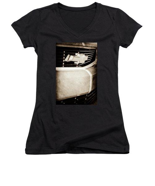Women's V-Neck T-Shirt (Junior Cut) featuring the photograph 2011 Chevrolet Camaro Grille Emblem -0321s by Jill Reger