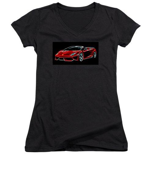 Women's V-Neck T-Shirt (Junior Cut) featuring the digital art 2014 Lamborghini Gallardo by Aaron Berg