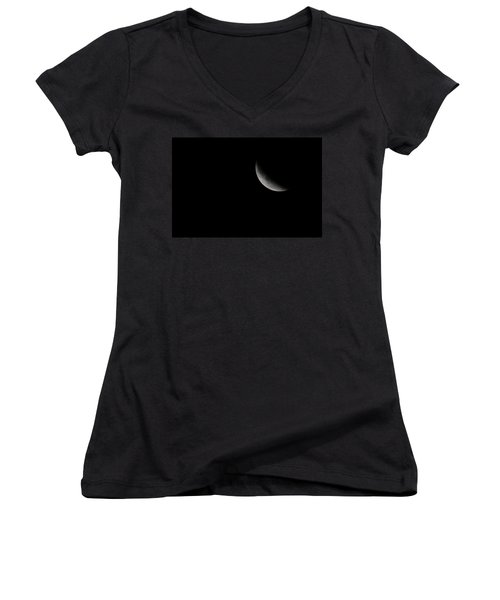2015 Harvest Moon Eclipse 1 Women's V-Neck T-Shirt (Junior Cut) by Terry DeLuco