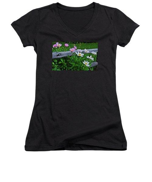 2015 Summer's Eve Neighborhood Garden Front Yard Peonies 2 Women's V-Neck