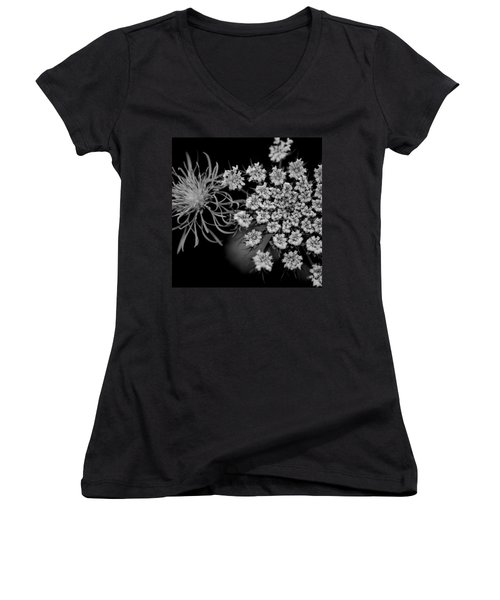 Women's V-Neck T-Shirt (Junior Cut) featuring the photograph Black And White Flower  by Kevin Blackburn
