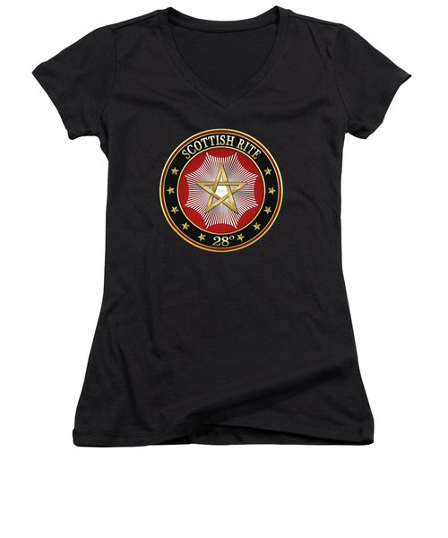 28th Degree - Knight Commander Of The Temple Jewel On Black Leather Women's V-Neck (Athletic Fit)