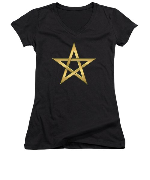 28th Degree Mason - Knight Commander Of The Temple Masonic  Women's V-Neck T-Shirt (Junior Cut) by Serge Averbukh