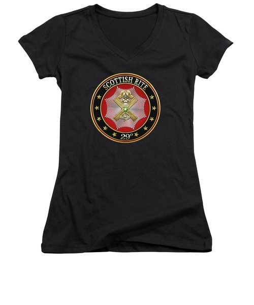 29th Degree - Scottish Knight Of Saint Andrew Jewel On Black Leather Women's V-Neck T-Shirt (Junior Cut) by Serge Averbukh