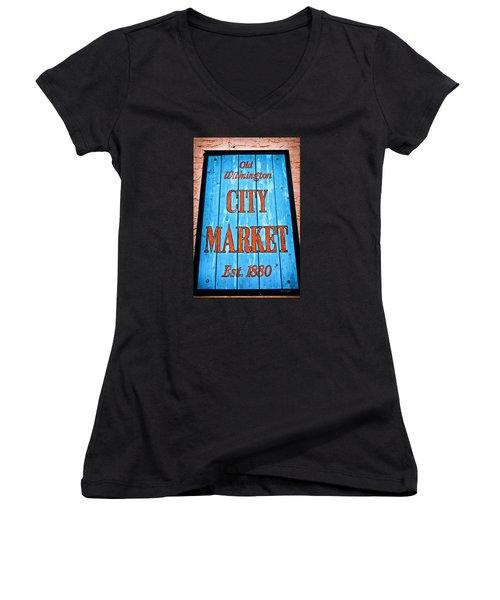 City Market Women's V-Neck T-Shirt (Junior Cut) by Denis Lemay