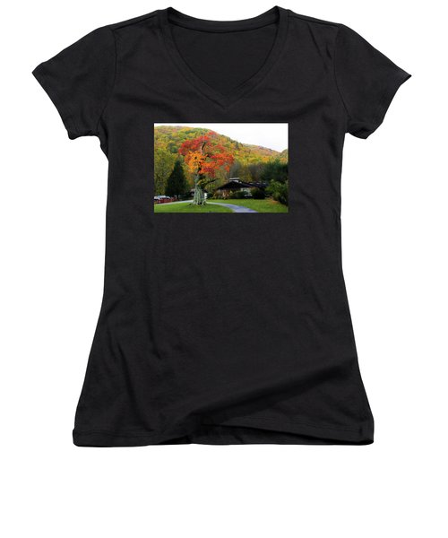 Fall Landscape Women's V-Neck (Athletic Fit)
