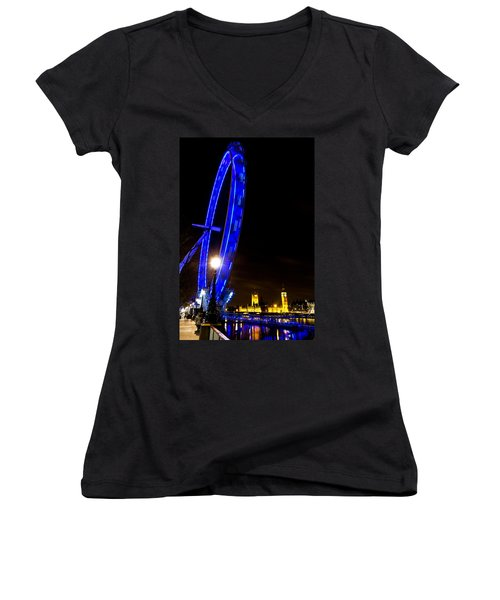 London Eye Night View Women's V-Neck T-Shirt