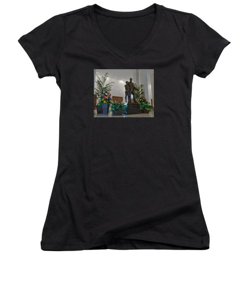 Women's V-Neck T-Shirt (Junior Cut) featuring the photograph Milton Hershey And The Boy by Mark Dodd
