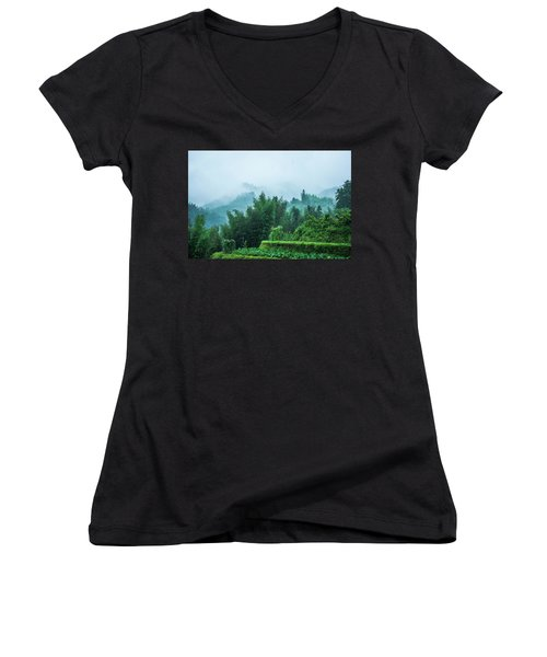 Mountains Scenery In The Mist Women's V-Neck