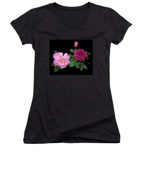 3 Pink Roses Cutout Women's V-Neck T-Shirt (Junior Cut) by Shirley Heyn