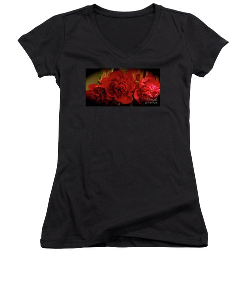 Red Peony Women's V-Neck T-Shirt