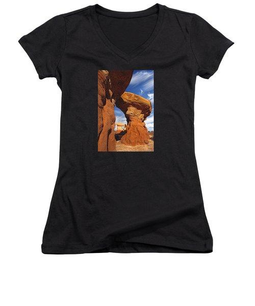 Sandstone Hoodoos In Utah Desert Women's V-Neck T-Shirt (Junior Cut) by Utah Images