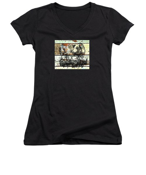Simmental Bull Women's V-Neck T-Shirt (Junior Cut) by Larry Campbell