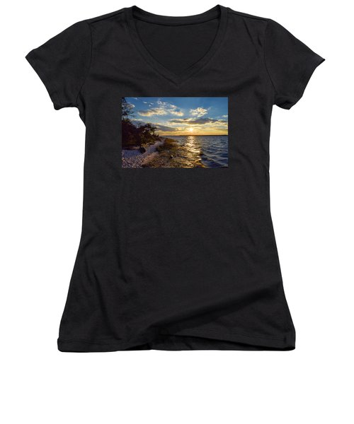 Sunset On The Cape Fear River Women's V-Neck