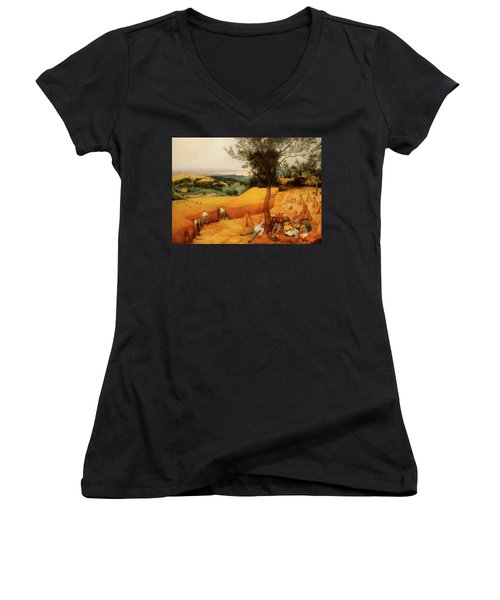 Women's V-Neck T-Shirt (Junior Cut) featuring the painting The Harvesters by Pieter Bruegel The Elder