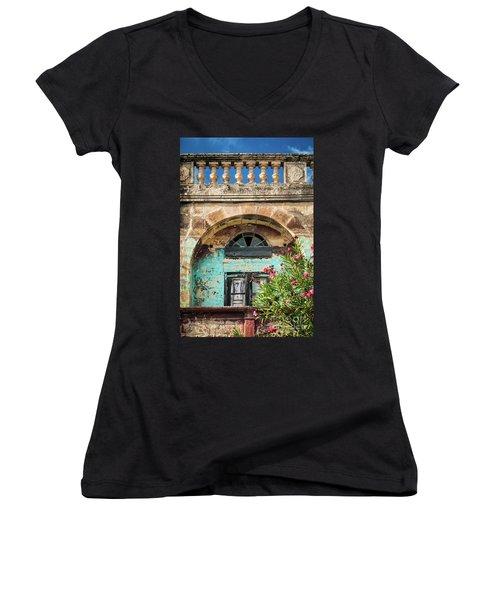 Traditional Mediterranean Maltese House Exterior Detail In Gozo  Women's V-Neck (Athletic Fit)