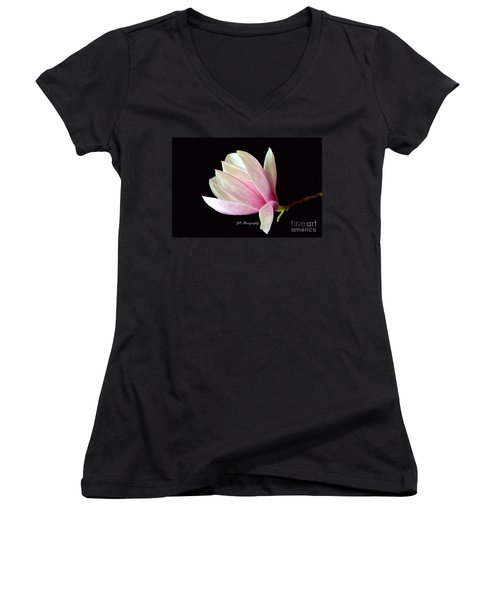 Welcome Spring Women's V-Neck T-Shirt (Junior Cut) by Jeannie Rhode