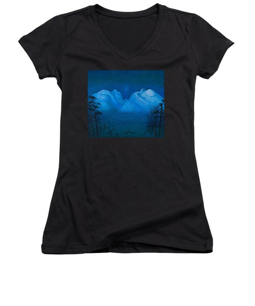Winter Night In The Mountains Women's V-Neck