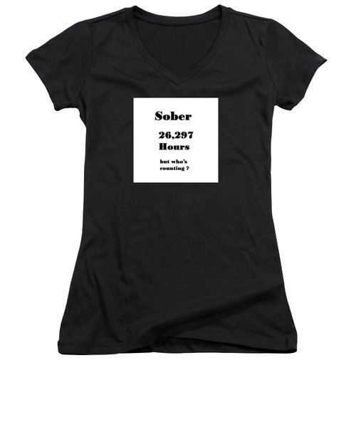 3 Years Sober Women's V-Neck (Athletic Fit)