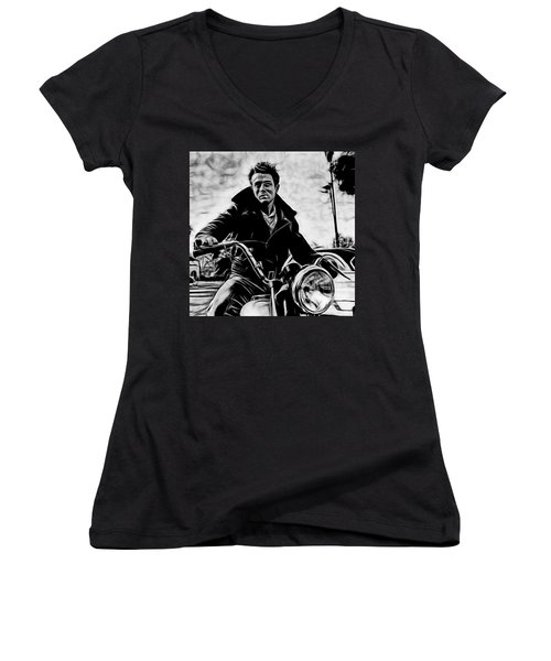 James Dean Collection Women's V-Neck T-Shirt (Junior Cut) by Marvin Blaine